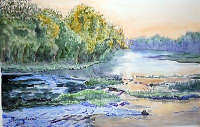 Закат на реке Вуокса